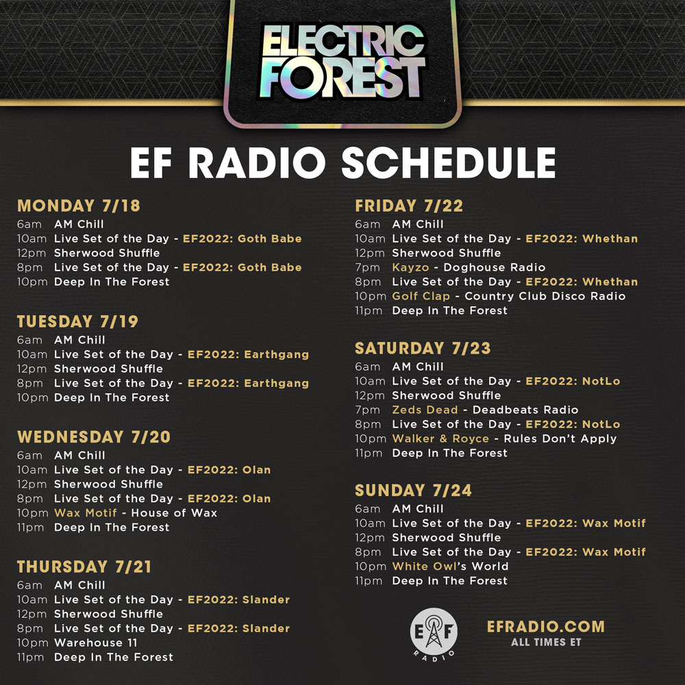 EF Radio Schedule